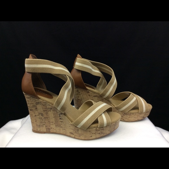 8c5e7ff35c9 Merona Tan White Elastic Strap Cork Wedge